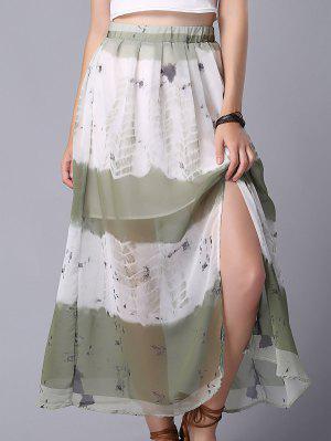 Tie Dye High Waist Chiffon Skirt - M
