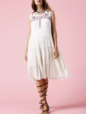 Floral Embroidery Scoop Neck Sundress - Off-white S