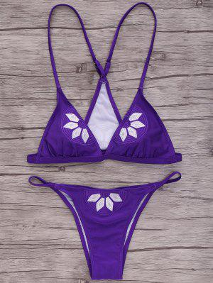 Embroidered Cami Bikini Set - Purple S