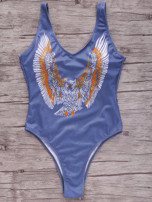 Eagle Print Plunging Neck One-Piece Swimwear - S