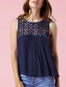 Solid Color Lace Spliced Round Neck Tank Top - Purplish Blue M
