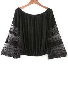 Empalmado De La Cucharada Del Cordón Del Cuello Recortada De La Camiseta - Negro S