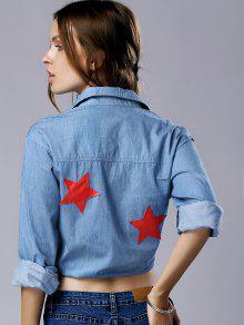 2xl De De El Manga Modelo Abajo Azul Camiseta Estrella Gira Collar Larga PqHHxO0n