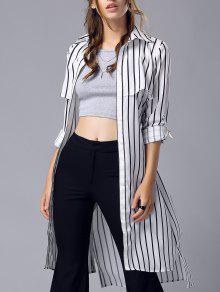 Buy Striped Turn Collar Chiffon Maxi Shirt - STRIPE L