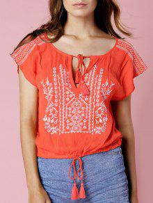 Floral Embroidery Short Sleeve Cropped T-Shirt - Orange M