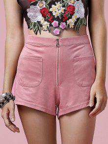 Exposed Zip Suede Shorts - Pink L