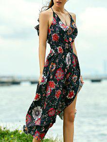 فستان طباعة الأزهار شاطئ ماكسي - أسود Xl