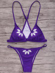 Embroidered Cami Bikini Set - Purple M
