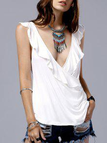Low Cut Frilled Tank Top - White M