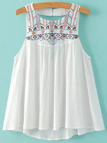 Buy Embroidery Round Neck Cut Tank Top - WHITE S