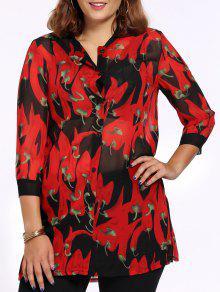 Camisa Elegante Más El Tamaño De La Pimienta De Impresión Hendidura Lateral Mujeres  's - Rojo 2xl