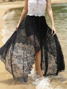 تنورة كامل الدانتيل أسود عالية الخصر  - أسود S