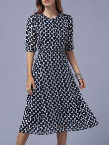 Polka Dot Round Neck Half Sleeve Swing Dress - Purplish Blue M