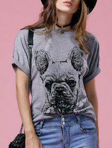 T-shirt à Col Rond à Manches Courtes Imprimé De Dessin Animé - Gris Xl