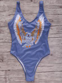 Eagle Print Plunging Neck One-Piece Swimwear - S
