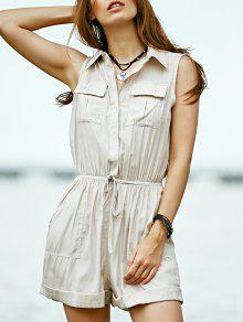 Solid Color Turn Down Collar Sleeveless Romper - Off-white S