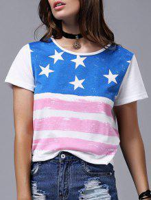 America Flag Print Short Sleeve Round Neck T-Shirt - White S