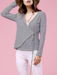 Drawstring Striped Plunging Neck Long Sleeve T-Shirt - White M