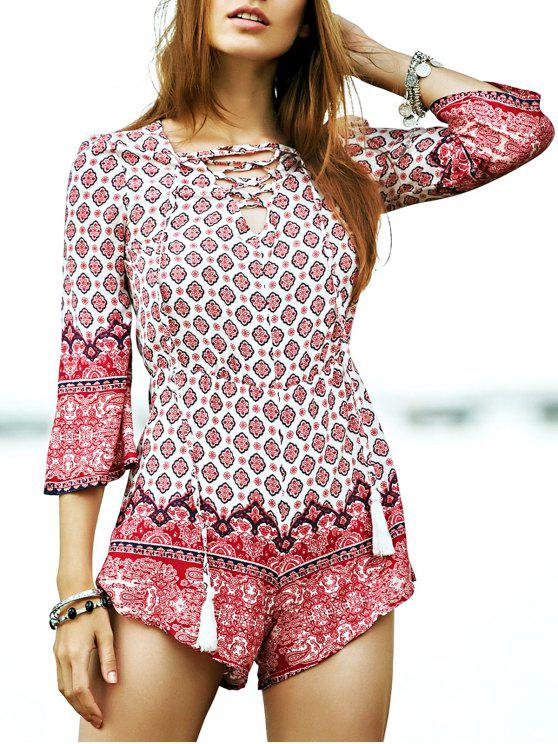 hot Lace-Up Ethnic Pattern Playsuit - COLORMIX S