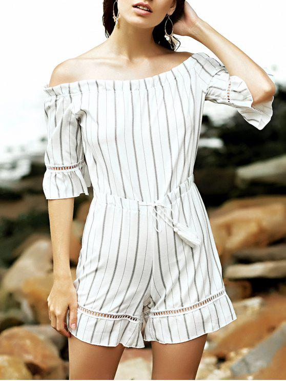 ladies Off The Shoulder Striped Romper - WHITE M