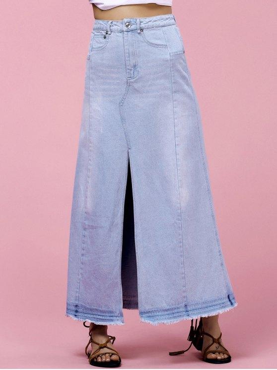 Trendy taille haute conception de poche Furcal femmes s 'Jupe en denim - Bleu clair M