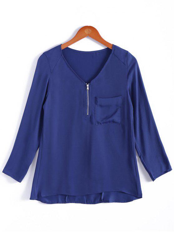 buy Pocket V-Neck Zipper Embellished Blouse - BLUE L