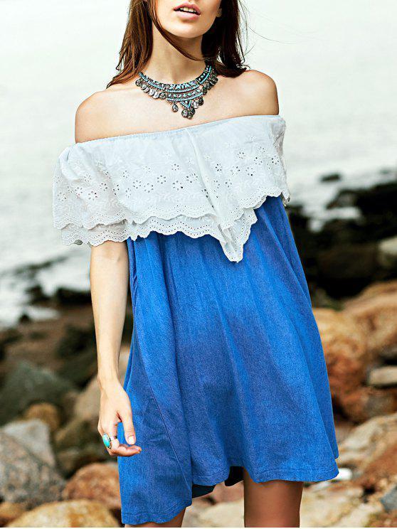 Bordado vestido de dril de algodón de la colmena - Azul y Blanco M