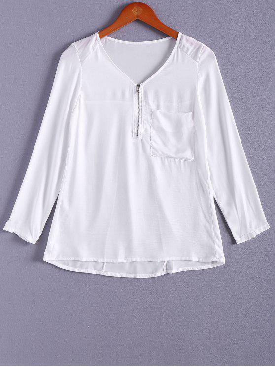 14cb5e9597e 29% OFF] 2019 Pocket V-Neck Zipper Embellished Blouse In WHITE   ZAFUL