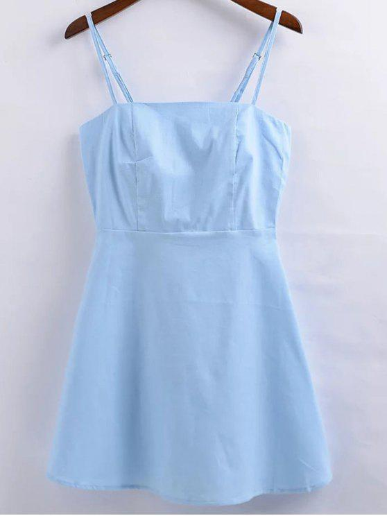 Lino-Blend medida Vestido Cami - Azul Claro L