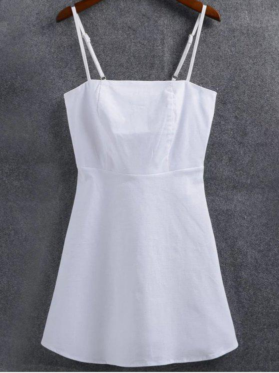 a87acc59ebe87 32% OFF] 2019 Linen-Blend Fitted Cami Dress In WHITE | ZAFUL