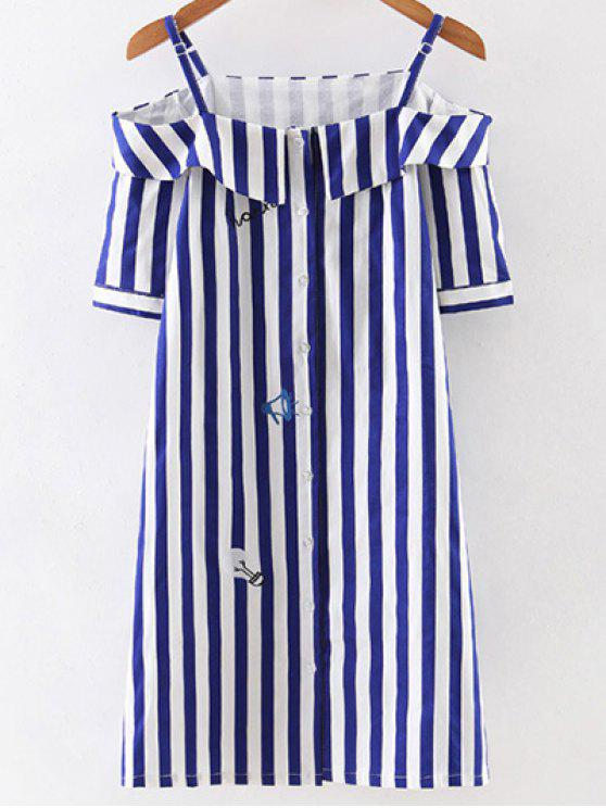 hot Off Shoulder Striped Dress - BLUE AND WHITE L