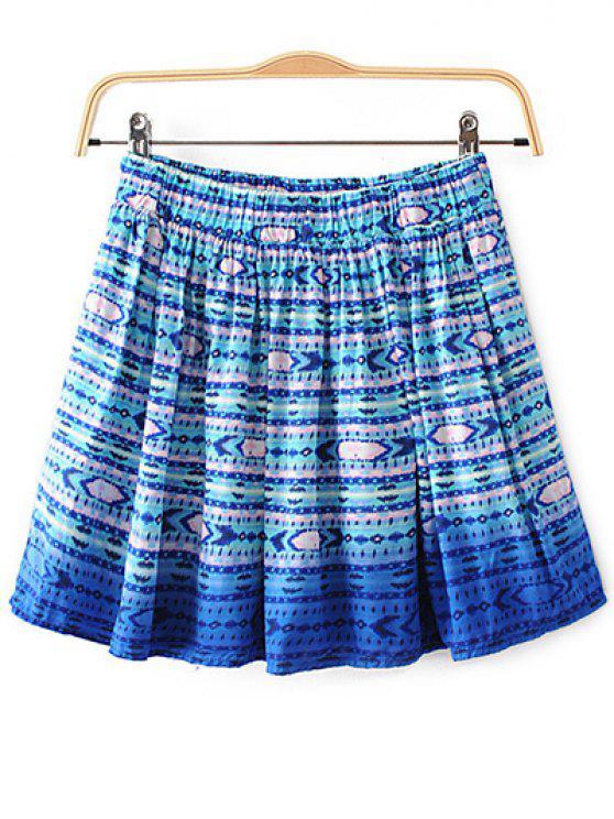 Impreso del volante de la falda - Azul M