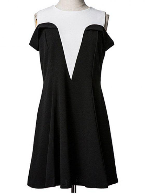 shop Spliced Cold Shoulder Faux Twinset Dress - BLACK M