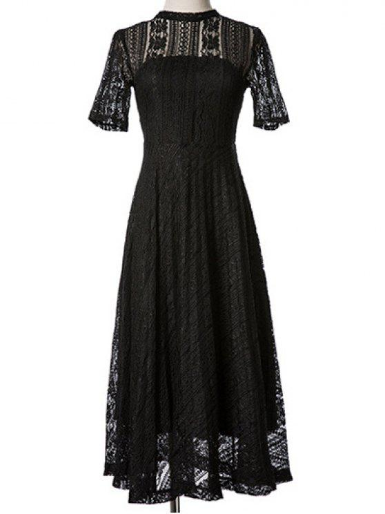 outfit Lace Stand Neck Back Cut Out Midi Dress - BLACK M