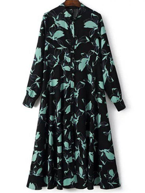 trendy Printed Long Sleeve Shirt Dress - BLACK M