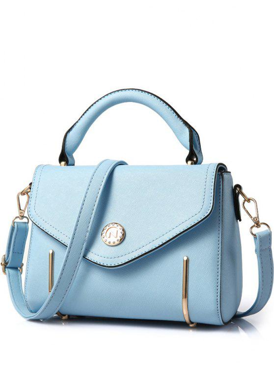 fashion Metal Solid Colour Cover Tote Bag - LIGHT BLUE