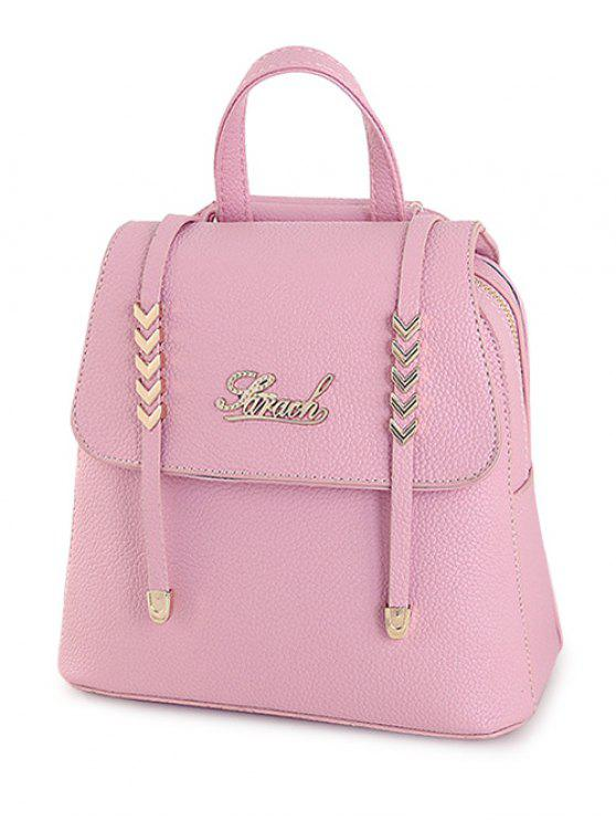 affordable Letter Strap Solid Color Satchel - PINK