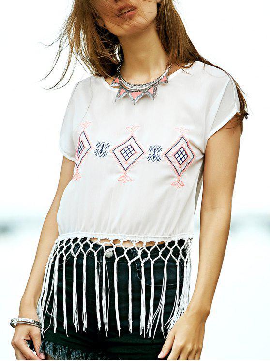 trendy Tassel Hem Embroidered T-Shirt - WHITE S