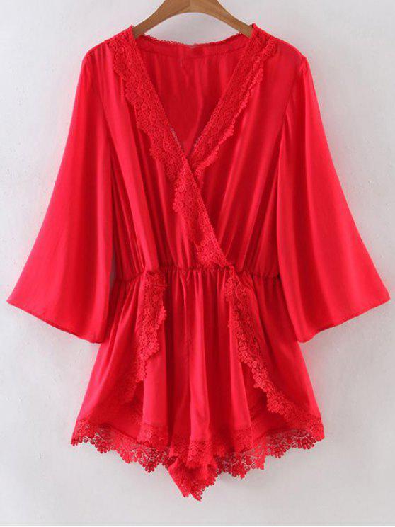 Encaje empalmado con cuello en V color sólido Romper - Rojo S