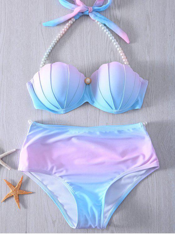 women's Pearl Halter Ombre Underwire Seashell Bikini - BLUE AND PINK 2XL