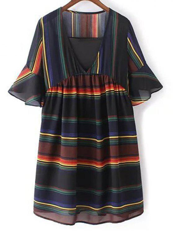 hot Loose Striped Plunging Neck Flare Sleeve Dress and Black Cami Tank Top Twinset - BLACK ONE SIZE(FIT SIZE XS TO M)