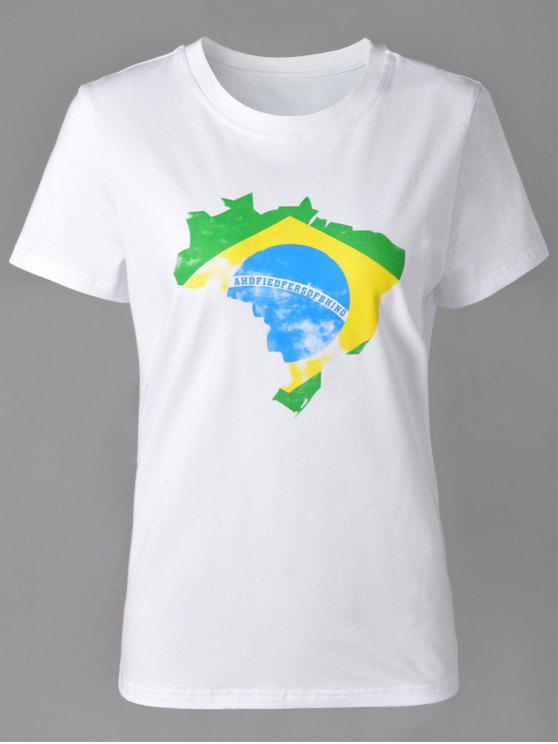 fancy Casual Round Neck Brazilian Flag Print Short Sleeve T-Shirt For Women - WHITE M
