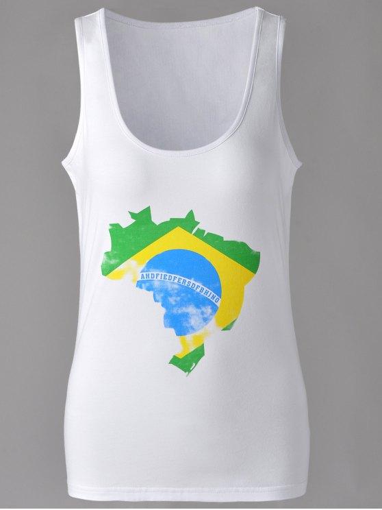 fashion Brief U-Neck Map Print Tank Top For Women - WHITE L
