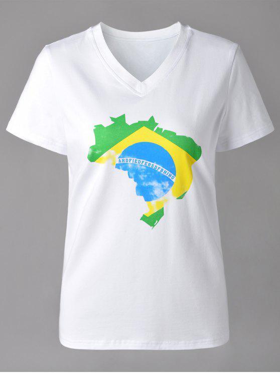 V-cuello ocasional Mapa Imprimir manga corta de la camiseta para las mujeres - Blanco XL