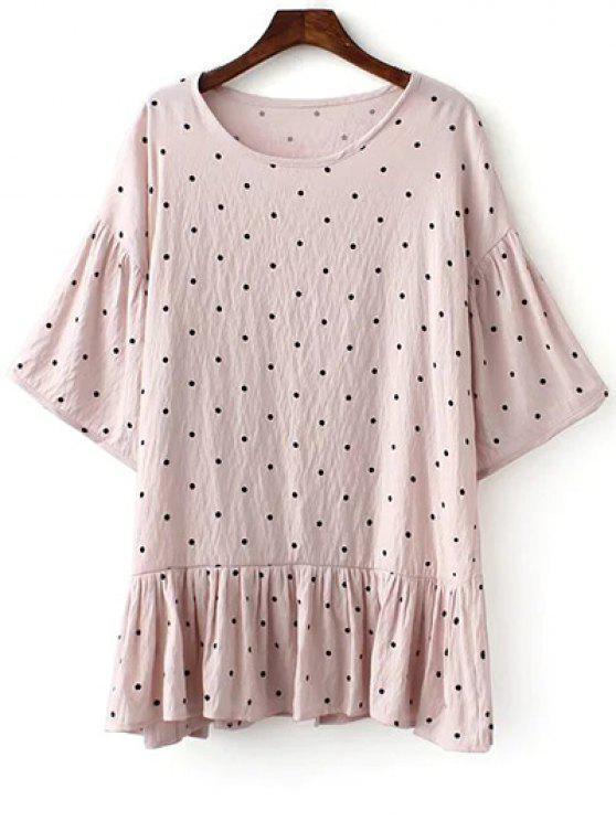 hot Loose Polka Dot Round Neck Bat-Wing Sleeve Dress - PINK ONE SIZE(FIT SIZE XS TO M)