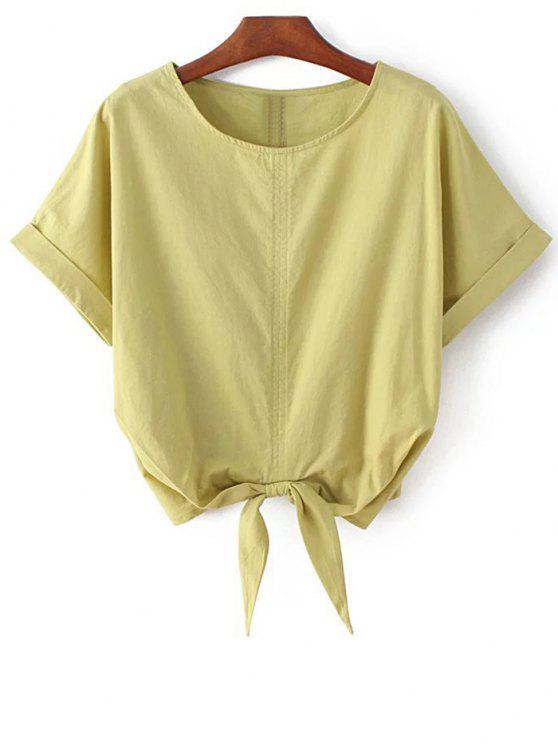 outfits Self Tie Round Neck Short Sleeve T-Shirt - YELLOW ONE SIZE(FIT SIZE XS TO M)