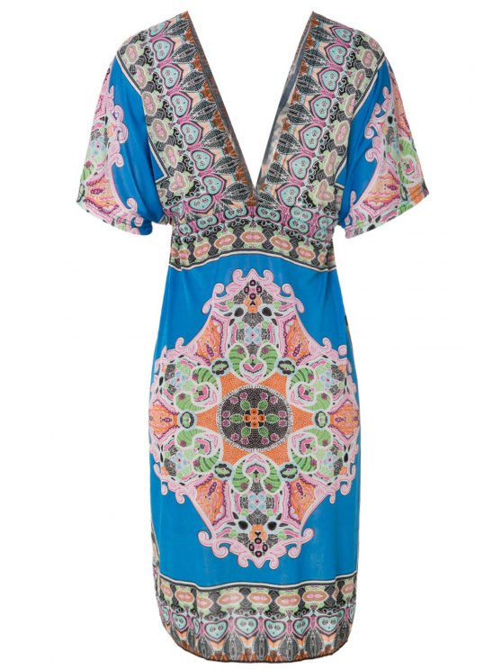 Plongeant Neck Retro Print Dress - Bleu 2XL
