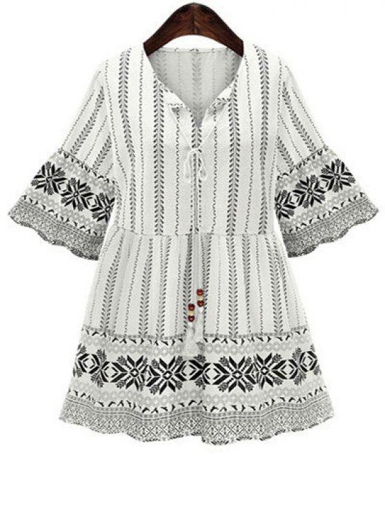 affordable Printed 3/4 Sleeve High Waisted Dress - WHITE M