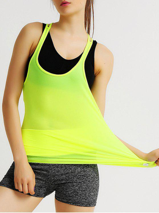 women Solid Color Strappy Racerback Gym Tank Top - FLUORESCENT YELLOW XL