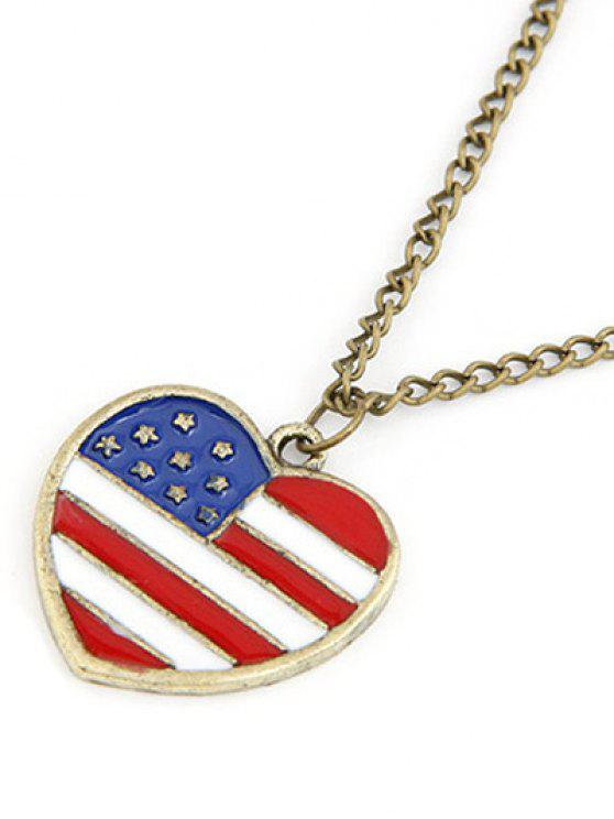 outfit American Flag Heart Pendant Long Necklace - GOLDEN